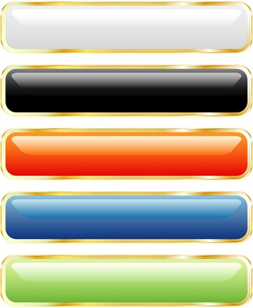 vector long buttons in five colors Stock Vector - 3116623