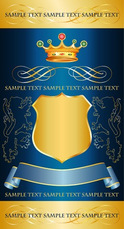 royal blue background: vector blue label with royal crown for different products
