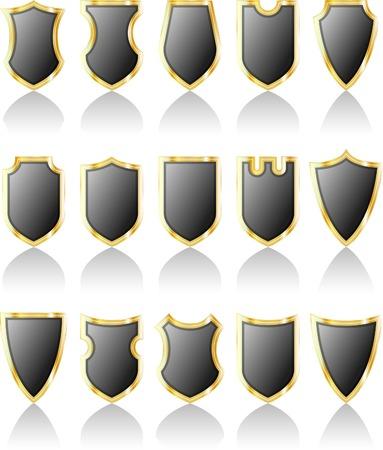 vector set of gray shields Vector