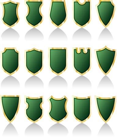 vector set of green shields Stock Vector - 3116619