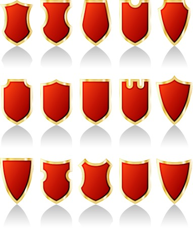 vector set of red shields Stock Vector - 3116618