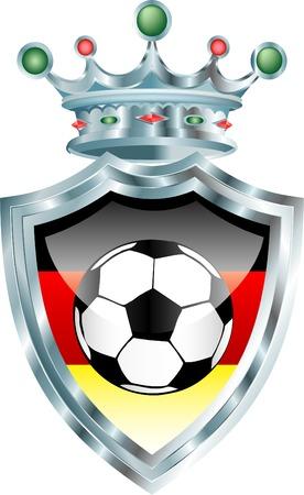 german flag: vector illustration with soccer ball and german flag