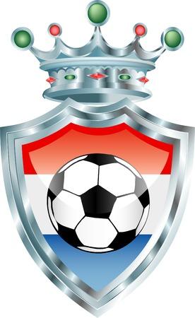 drapeau hollande: illustration vectorielle avec ballon de soccer sur hollande pavillon