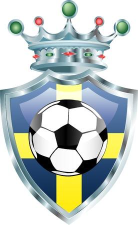 sweden flag: illustrazione vettoriale del pallone da calcio sulla Svezia di bandiera