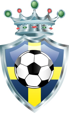 vector illustration of the soccer ball on sweden flag Vector