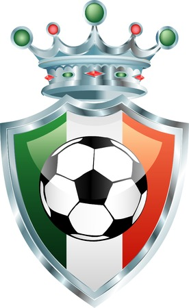 vector illustration of the soccer ball on italian flag