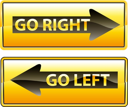 way to go: vector traffic signs for right and left