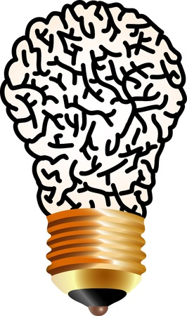 vector simbolic illustration with brain and lamp Vector