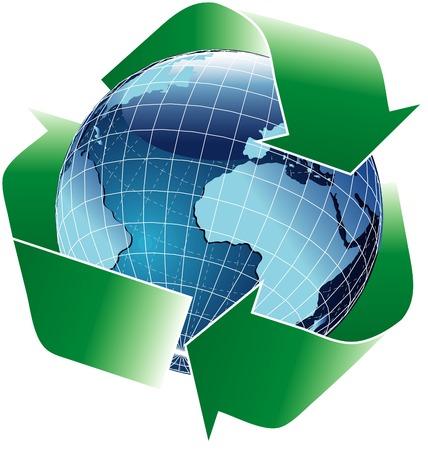 vector globo azul con verde reciclar signo  Foto de archivo - 3318232