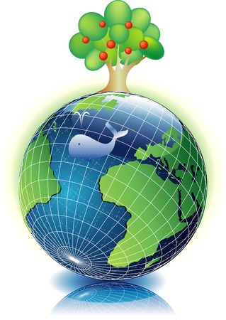 vector illustration with the Earth and tree Stock Vector - 3319530