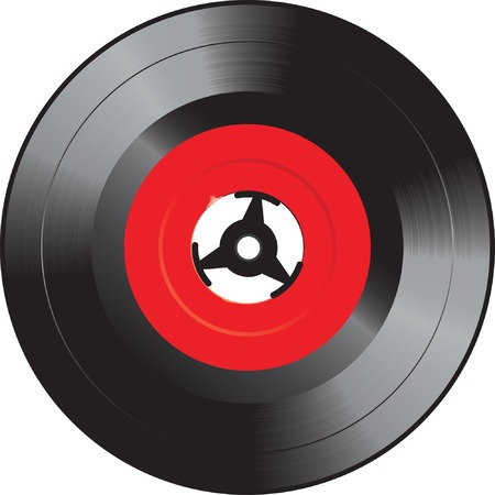 50s: vector illustration of the single vinyl record