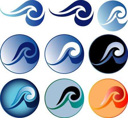 signo abstracto del vector con olas de nueve variatiaons