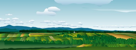 country church: vector landscape Illustration