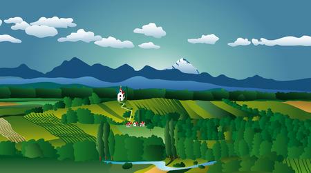 mountain meadow: ilustraci�n vectorial del pa�s paisaje
