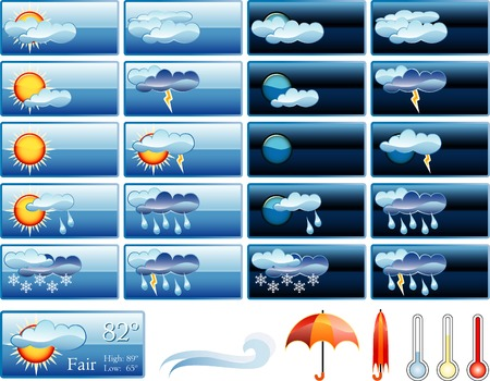 weather report: vector icons for weather report