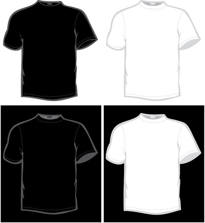 wrinkly: vector T-shirt in black and white color
