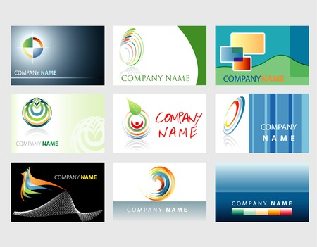 set of vector business cards for diverse companies