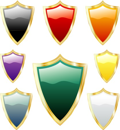 vector golden shields Vector