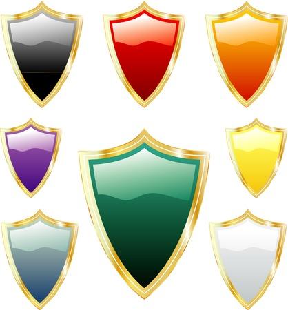 vector golden shields Vector