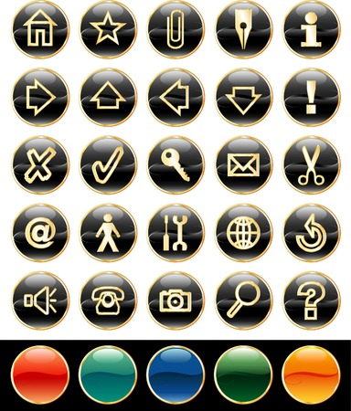 vector black buttons for web and computing Vector