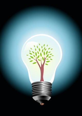 vector illustration with tree in bulb lamp Stock Vector - 3531128