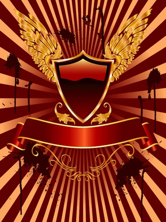 vector blank shield with grunge background Vector