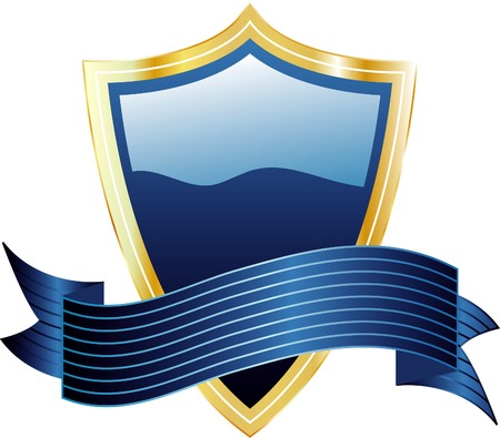 vector blue shield and banner Stock Vector - 3639529