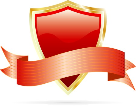 vector red shield with banner Stock Vector - 3639594