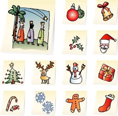 three animals: set di icone di Natale sulla nota documenti Vettoriali