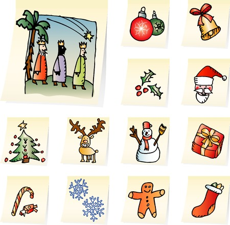 three month: set of christmas icons on the memo papers