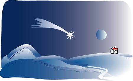 vector landscape in Christmas night Stock Vector - 3652936