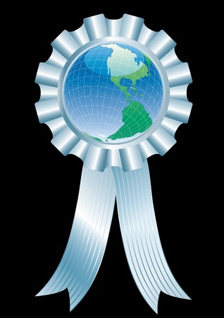 vector globe with silver ribbon Stock Vector - 3670319