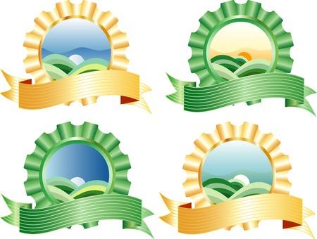 logotipo turismo: vector paisaje con bandera