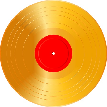 dj turntable: vector realistic illustration of the blank golden LP