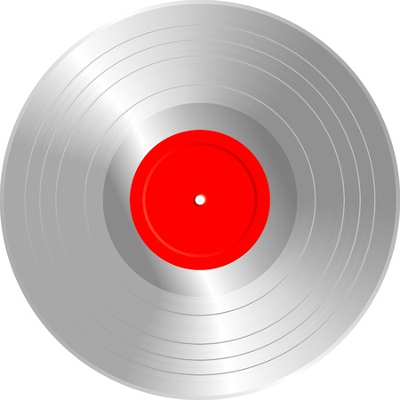 vector realistic illustration of the blank silver LP Vector