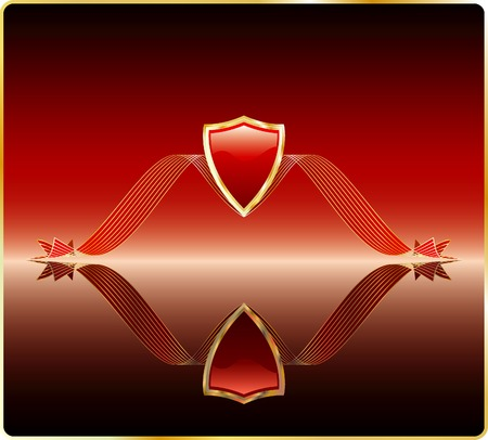 vector red shield on mirror Stock Vector - 3740657