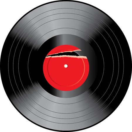 vector vinyl disc with ripped label Vector