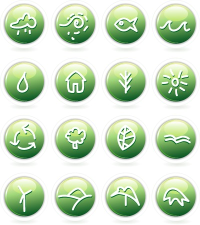 vector buttons with hand drawn icons Stock Vector - 3771202