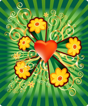 vector heart with flower power Vector