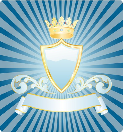 vector light blue shield with crown Vector