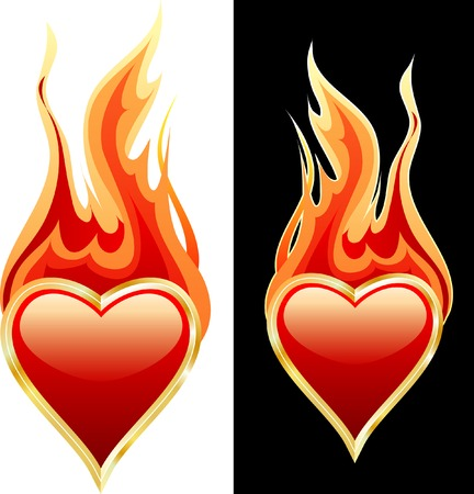vector heart of gold in flame Vector