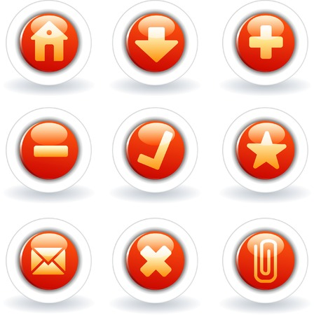 vector red buttons for web and computing Stock Vector - 3782942