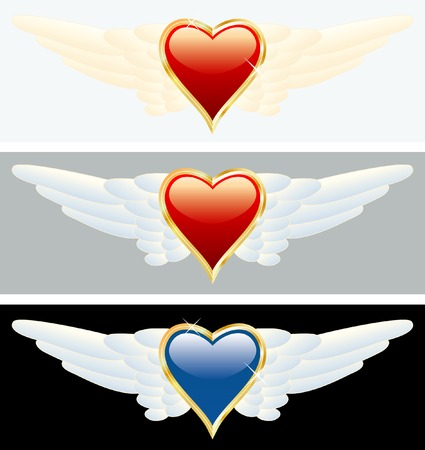 vector heart of gold with wings Vector
