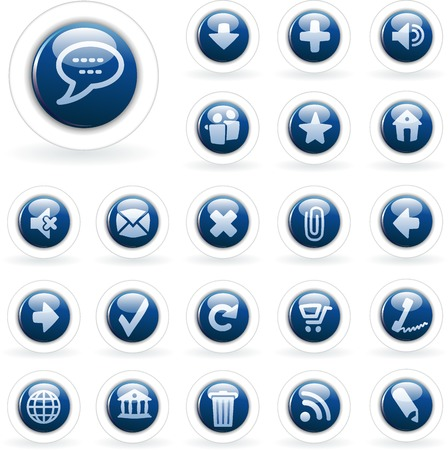 vector blue buttons for web and computing Vector