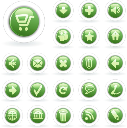 vector green buttons for web and computing Vector