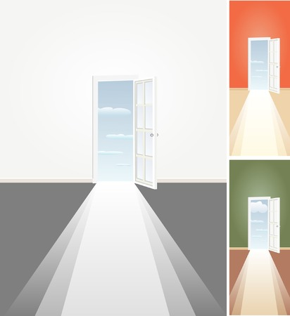 vector illustration of the empty room with door to the sky Vector