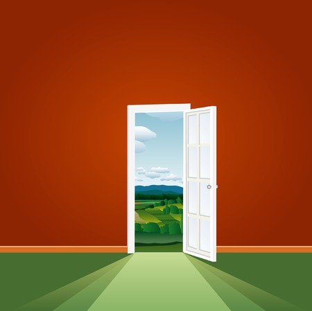 vector illustration of the empty room with landscape Stock Vector - 3820538