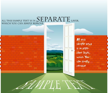 vector illustration with text on the brick wall Stock Vector - 3820539
