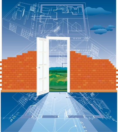 vector abstract illustration with blueprint and brick wall under construction Stock Vector - 3826658