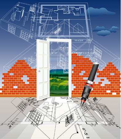vector abstract illustration with brick wall and blueprint sky  Vector